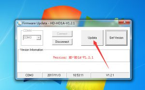 Then update, it is going to begin update the firmware to your HD1.